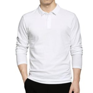 White Long Sleeve Polo Shirt