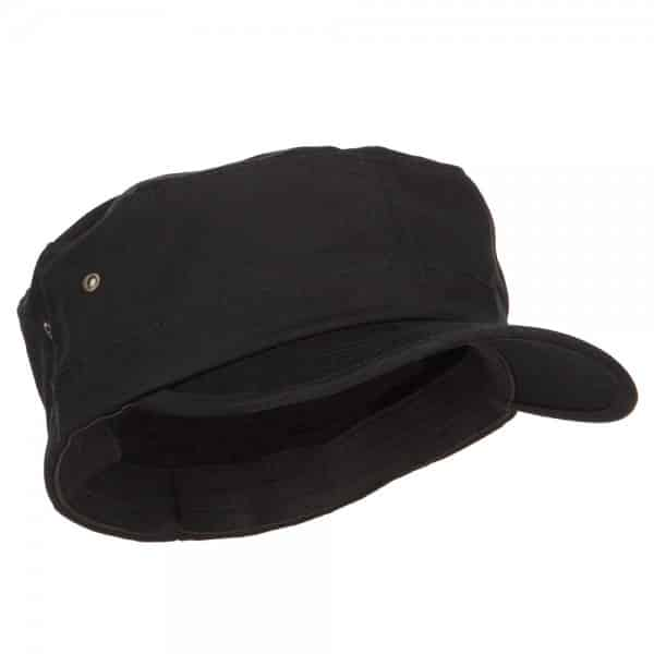 Right Side of Black Flat Top Cap