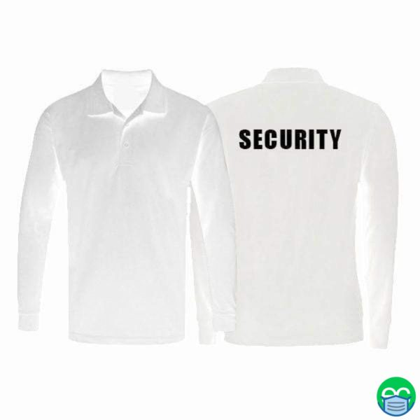 White Dri Fit Long Sleeve Polo Shirt