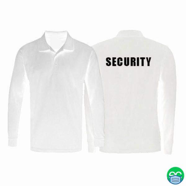 White Dri Fit Long Sleeve Polo Shirt